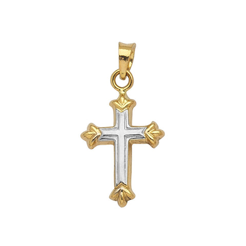 14kt Gold Two Tone Hollow 3D Crucifix