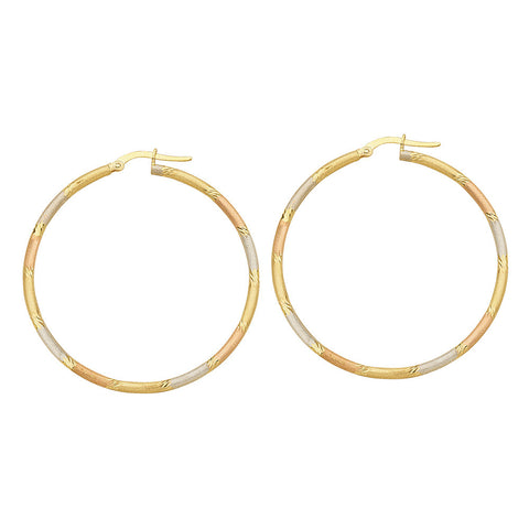 14kt Gold Tri Color Twist Hoop Earrings