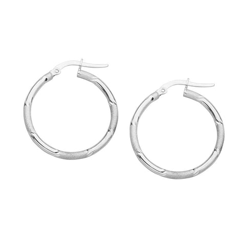 14kt White Gold Polished/Laser Hoop Earrings