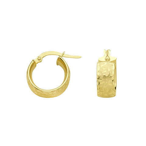 14kt Yellow Gold Textured Euro Hoop Earrings