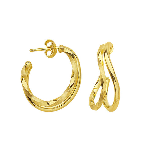 14kt Yellow Gold Fancy Twist Euro Earrings
