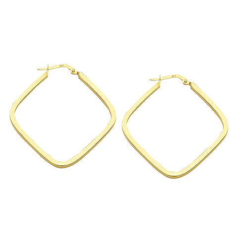 14kt Yellow Gold Square Hoop Earrings 35mm