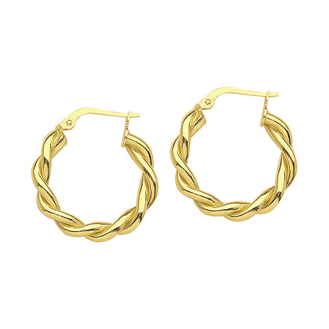 14kt Yellow Gold Braided Hoop Earrings