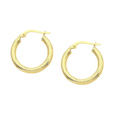 14kt Yellow Gold Twist Hoop Earrings