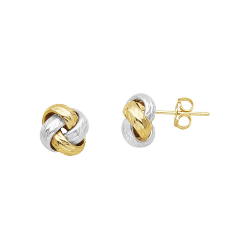 14kt Two Tone Gold Love Knot Earrings