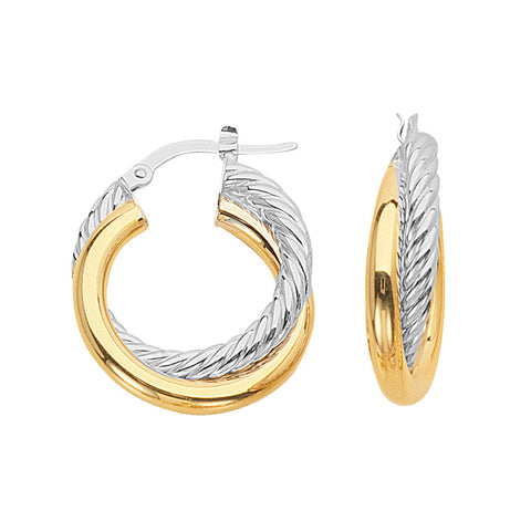 14kt Two Tone Gold Fancy Hoop Earrings