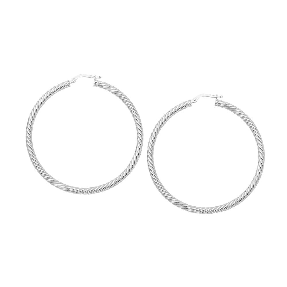14kt Yellow Gold 3mm x 25mm Rope Twist Hoop Earrings