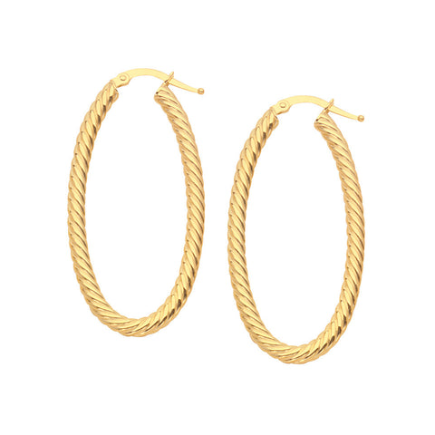 14kt Yellow Gold Rope Design Oval Hoop Earrings