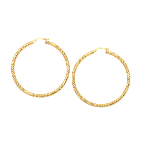 14kt Yellow Gold 3mm x 40mm Rope Twist Hoop Earrings
