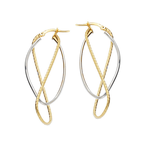 10kt Two Tone Figure 8 and Oval Hoop Earrings