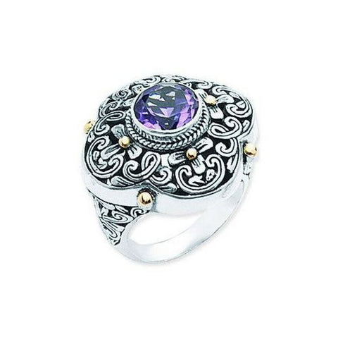 Sterling Silver and 18kt Gold Amethyst Ring