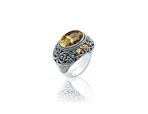 Sterling Silver and 18kt Gold Citrine Ring