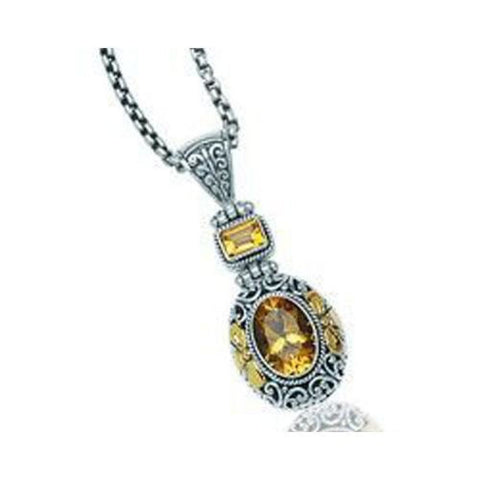 Sterling Silver and 18kt Gold Citrine Pendant