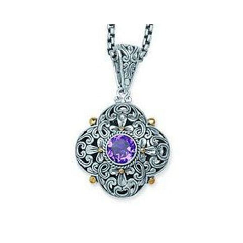 Sterling Silver and 18kt Gold Bali Amethyst Pendant