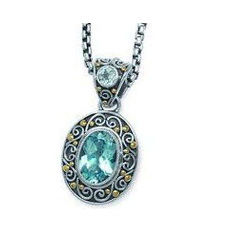 Sterling Silver and 18kt Gold Bali Blue Topaz Pendant