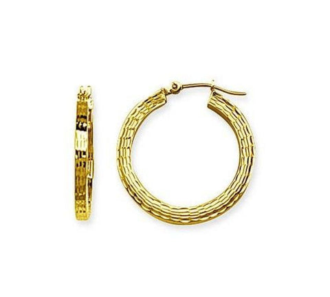 14kt Yellow Gold 3mm Square Diamond Cut Hoop Earrings 25mm