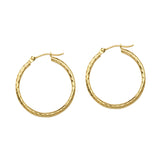 10kt Yellow Gold Diamond Cut Hoop Earrings 20mm 2mm thick