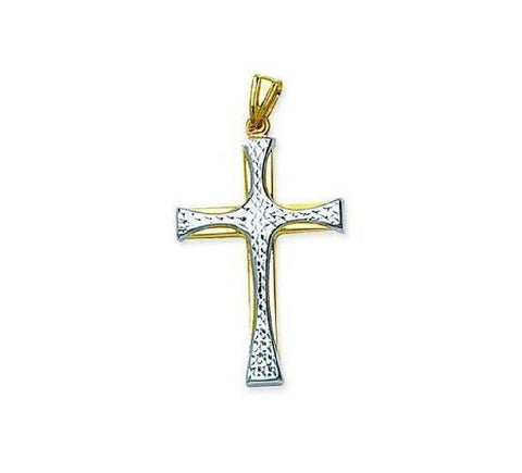 14kt Gold Two Tone Diamond Cut Cross large