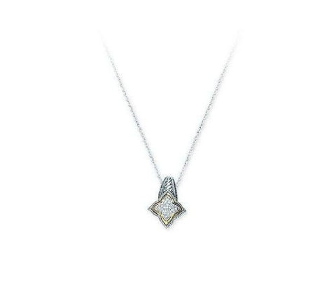 Sterling Silver,14kt Gold and Diamond Scultured Pendant