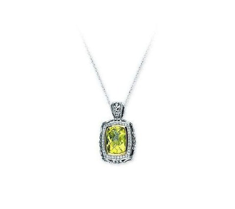 Sterling Silver,14kt Gold,Diamond Lemon Quartz Pendant