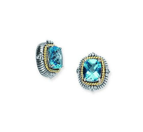 Sterling Silver, 14kt Gold and Blue Topaz Earrings
