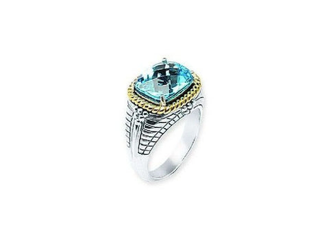 Sterling Silver and 14kt Gold Rope Design Blue Topaz Ring