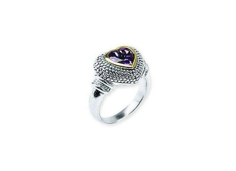 Sterling Silver and 14kt Gold Amethyst Ring