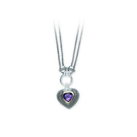 Sterling Silver, 14kt Gold, Diamond and Amethyst Pendant