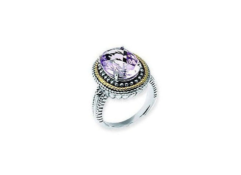 Sterling Silver and 14kt Gold Pink Amethyst Ring