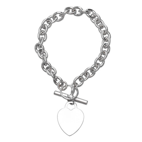Sterling Silver Rolo Necklace with Heart