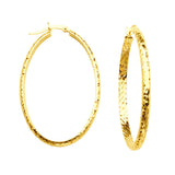 10kt Y.G. Inside Out Diamond Cut Large Oval Hoop Earrings 3mm