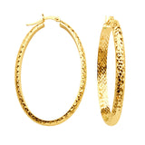 10kt Y.G. Inside Out Diamond Cut Large Oval Hoop Earrings 4mm