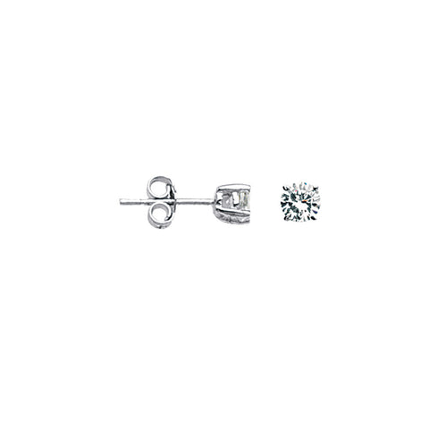 Sterling Silver Round 4mm Cubic Zirconia Earrings