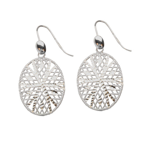 Sterling Silver Oval Diamond Cut Center Earrings
