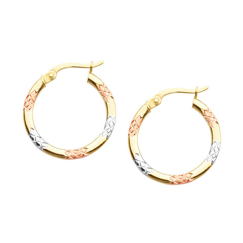 10kt Tri Color Gold Round Hoop Earrings
