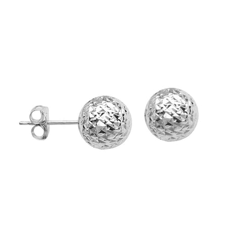 Sterling Silver 8mm Classic Stud Rhodium Earrings