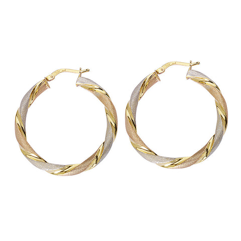 Sterling Silver Round Twist Tri Color Hoop Earrings 1.14 inches