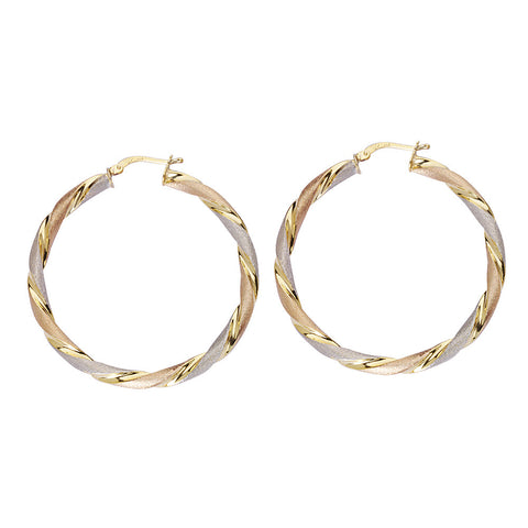 Sterling Silver Round Twist Tri Color Hoop Earrings 1.65inches