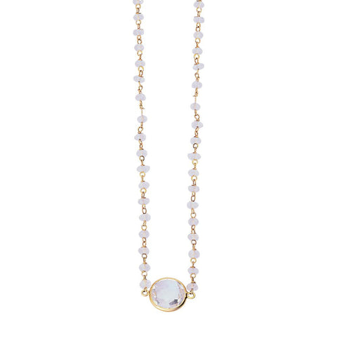 Sterling Silver White Topaz Adjustable Necklace with yellow gold overlay