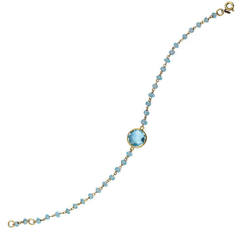 Sterling Silver Blue Topaz Adjustable Bracelet with yellow gold overlay