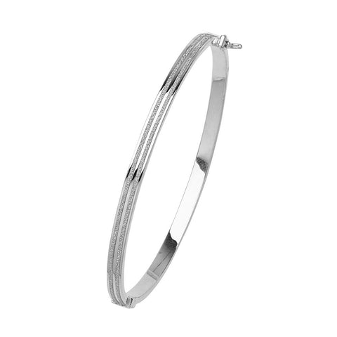 14kt White Gold Round Glitter Bangle