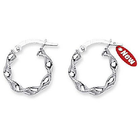 10kt White Gold Twisted Small Hoop Earrings