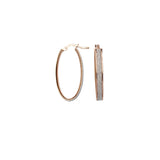 Sterling Silver Small Oval Glitter Hoop Earrings