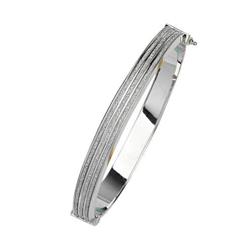 Sterling Silver 8mm Wide 3 Row Glitter Bangle