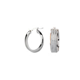 Sterling Silver 8mm Wide 3 Row Glitter Hoop Earrings 14kt Y.G.