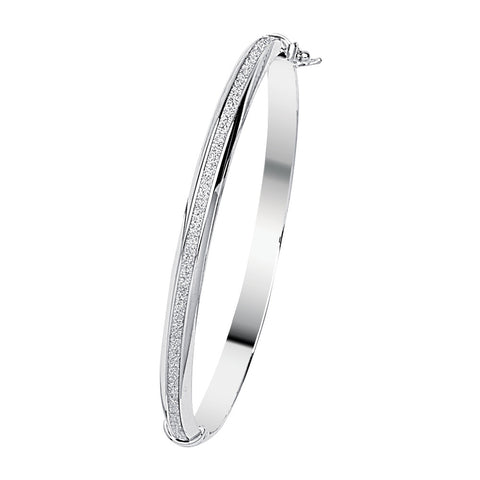 Sterling Silver 6mm Wide Domed Glitter Bangle