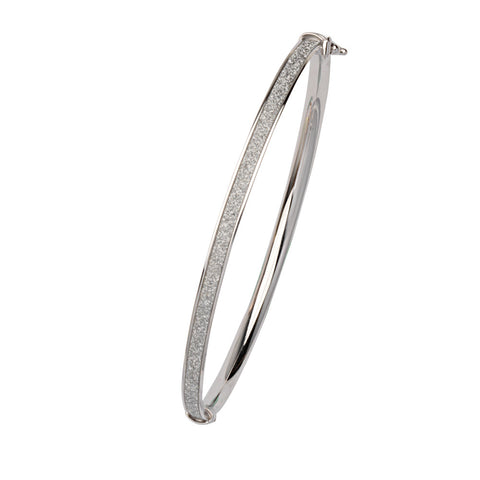 Sterling Silver 4mm Wide Flat Tube Glitter Bangle