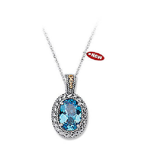 Sterling Silver and 14kt Yellow Gold Blue Topaz Textured Pendant
