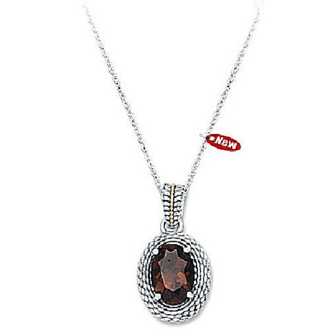 Sterling Silver and 14kt Yellow Gold Smokey Topaz Quartz Textured Pendant