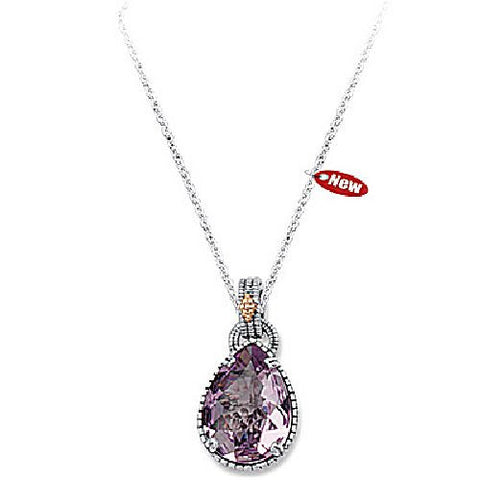 Sterling Silver and 14kt Yellow Gold Pink Amethyst Textured Pendant